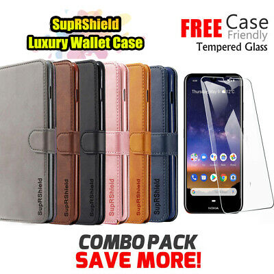 Nokia 2.2 3.2 4.2 6.2 7.2 Wallet Leather Case Flip Cover +Glass Screen Protector