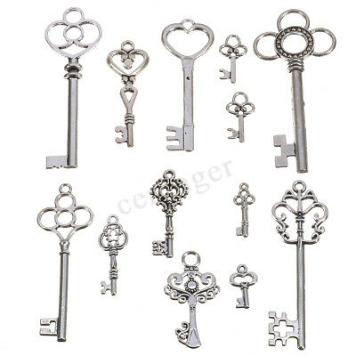 13 Antique Vintage Old Look Skeleton Keys Lot Silver Tone Pendants Mix