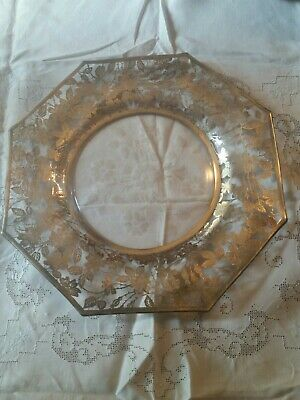 """Stunning Antique Sterling Silver Floral Overlay Serving Plate 14 1/2"""" Etched"""