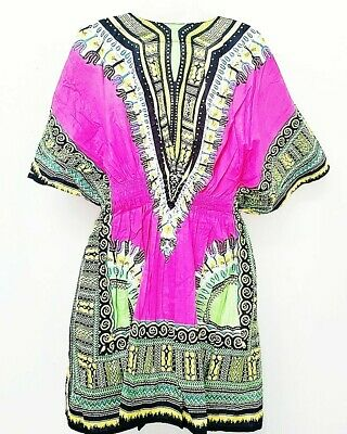 Traditional African Dashiki Cotton Elastic waist Multicolored One Size Fit pink