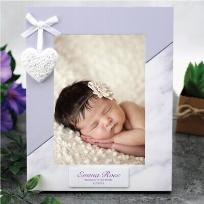 Personalised Baby Photo Frame 5x7 Heart - Unique Baby Gift