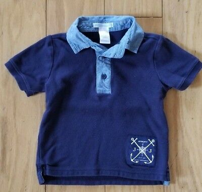 JANIE AND JACK Baby Boy 12-18 Mos Blue Polo Shirt Nautical Ship Anchors