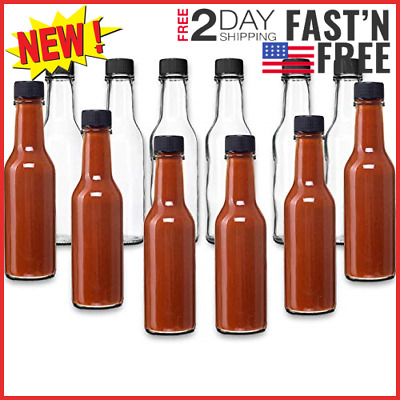 Hot Sauce Woozy Bottles, 5 Oz with Black Caps and Incerts - 24 Pack