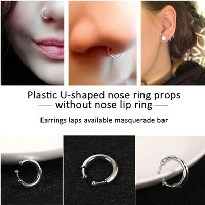 Silver Durable Toy prank Safe Material U-Shaped Lip Ring Kids anti stress toy~GN