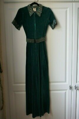C&A 1970s Vintage One Off Green Velour Festival Jumpsuit With Belt UK 8