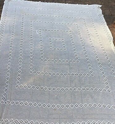 Vintage Crochet Lace Cream Tablecloth 64 X 88. Geometric Design