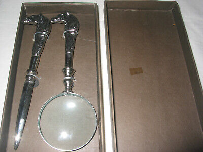 Silver  Plated Horse Magnifier Glass and Letter Opener Desk Set Two's Company