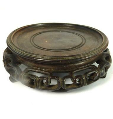 N997 Antique Chinese Carved Hardwood Stand For Vase Bowl