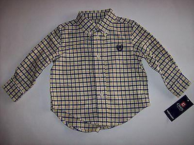 Chaps Shirt Size 12 Mos Plaid Navy Yellow White Infant Baby Boy Logo Casual NWT