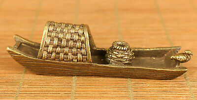 Chinese old bronze hand carving ship statue netsuke gift noble decoration