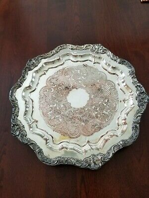 Vintage Coronet Silver On Copper Round Footed Serving Tray