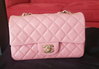 Authentic New Chanel Mini In Light Pink Lambskin With Light Gold Hardware
