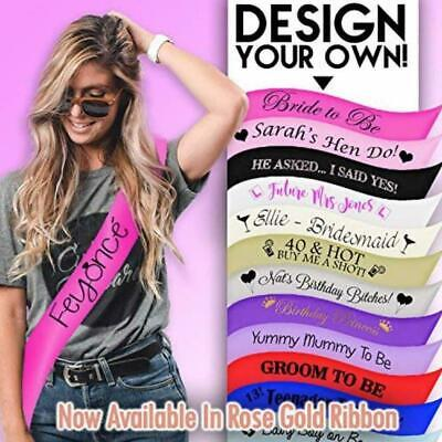 New Personalised Custom Sashes Design Your Sash Birthday Hen Party Baby Shower