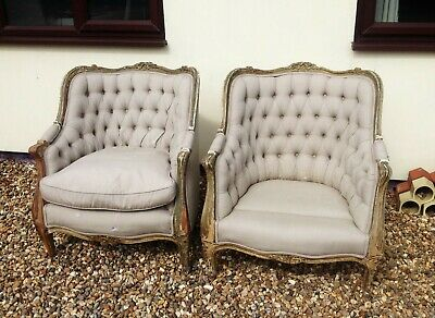 Pair Antique Louis XV Carved Giltwood Fauteuils- French Buttonback Tub Armchairs