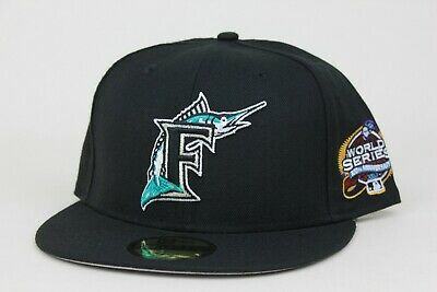 e93839354 NEW ERA FLORIDA Marlins Fitted Hat Cap 2003 World Series BLACK ...