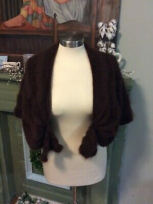 True Vintage Bolero Wrap Cape Coat Brown Angora Fur Look Women's 40s 50s 60s