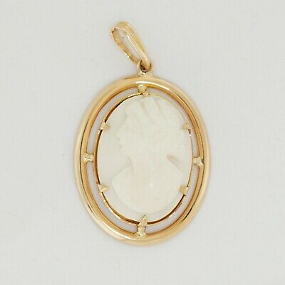 14k Solid Yellow Gold Antique Vintage Bezel Set Womens Face Cameo Oval Pendant