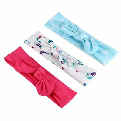 20X(Baby Girls Tie Knot Headband Knitted Cloth Children Girls Elastic Hair Band