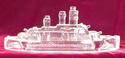 Antique Glass Candy Container Battleship Pressed Clear EAPG