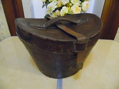 VICTORIAN BROWN LEATHER TOP HAT BOX WITH MAROON FABRIC LINING 33cm x 29cm x 25cm