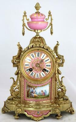 Antique Mantle Clock French Superb C1870 Bronze Pink Sevres Striking 8 Day