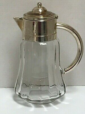 Glass Water Pitcher Wine Claret with Silver Plated Lid & Handle w/ Ice Insert