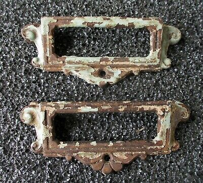 """ANTIQUE CAST IRON BIN FILE DRAWER PULLS w/ CARD SLOT OPENING 4 1/4"""" wide"""