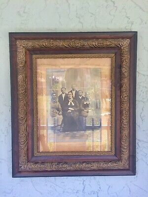 Antique Wooden Glass Gold Black Handcarved Ornate Picture Frame W/ Antique Pic