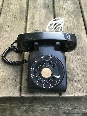 Vtg Black Bell System Western Electric Rotary Desk Phone Metal Dial Working