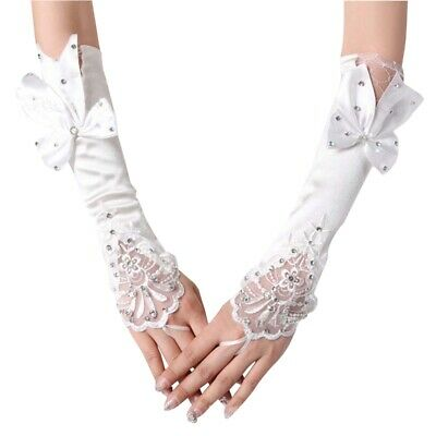 20X(White Finger Bowknot Pearls Bridal Gloves Bridal Formal Wedding Gloves F6N1)