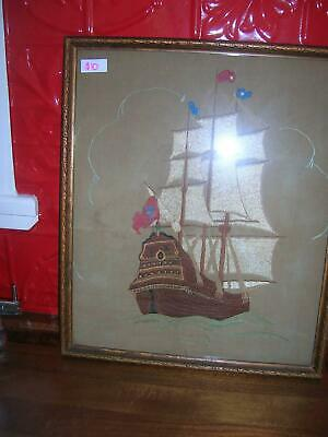 Boat Embroidery in frame $10