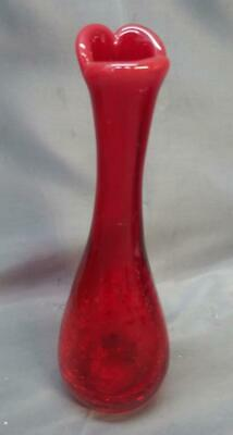 Old Vintage Blenko Art Glass American Red MCM Mid Century Modern Art Glass Vase