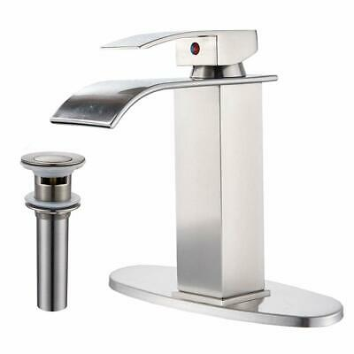 "Brushed Nickel Bathroom Sink Waterfall Faucet Single Handle with 6"" Cover Drain"