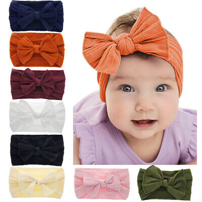 Head Wrap Bow Hairband Baby Nylon Headband Toddler Turban Knotted Turban~