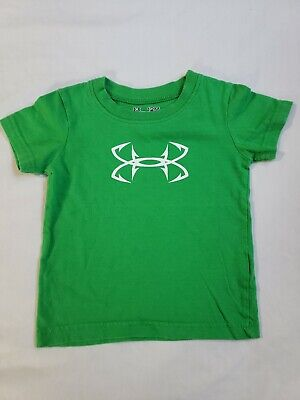 Toddler fish hook Under Armour heatgear T Shirt Green and White 12 Months boys