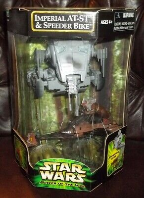 Star Wars Potj Power Of Jedi Series At-St Walker W Paploo Ewok On Speeder Bike