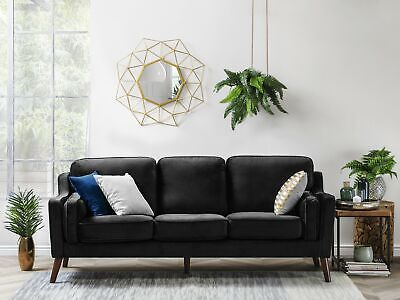 Luxury Modern 3 Seater Sofa Upholstered Velvet Black Lokka