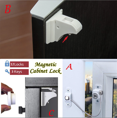 Child Safety Magnetic Cabinet and Drawer Locks 12 Pack Child Latches
