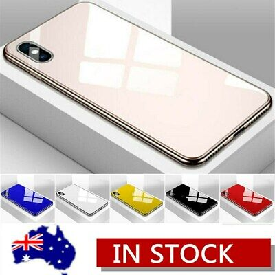 For iPhone Xs Max XR X 7 8 6s Plus Tempered Glass Plating Slim Case Cover
