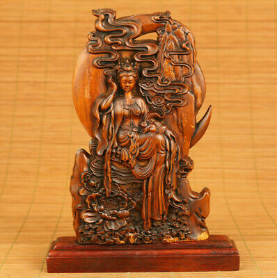 Chinese old boxwood hand carved goddess in the moon statue table decoration