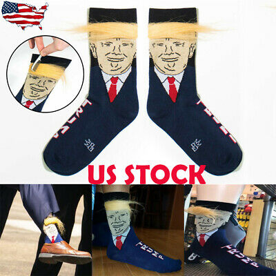 US 1 Pair Men's Funny President Trump With 3D Fake Hair Crew Soft Socks Gift New