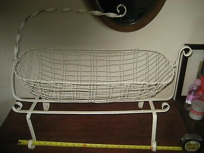 A Rare Beautyful Hand Made & Painted Victorian Metal Baby Crib / Cot