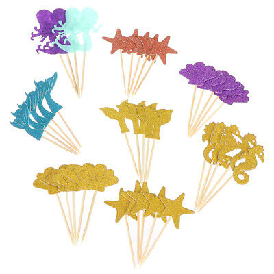 39pcs Mermaid Cupcake Toppers Ocean World Cake Picks for Birthday Party Decor~GN