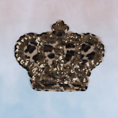 1xCrown leopard sequins deal with it patches for clothing t shirt 3d stickers~GN
