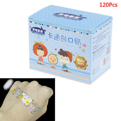 120PCS Breathable Transparent PE Cartoon Band Aids Adhesive Bandages Stickers~GN