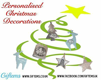 Personalised engraved photo decoration bauble gift baby 1st christmas, memorial