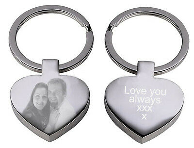 Personalised gift Engraved text logo photo keyring birthday keepsake Valentines