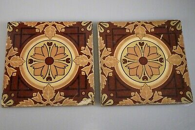 Antique Pair Minton English Arts & Crafts Tiles - 56981
