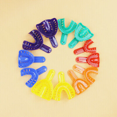 12Pcs Pro Colorful Dental Impression Trays Plastic Teeth Holder For Oral Tools
