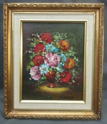 Vintage Flowers Floral Oil Painting Framed Signed Still Vase Life Framed Art
